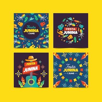 Conjunto de cartão festa junina