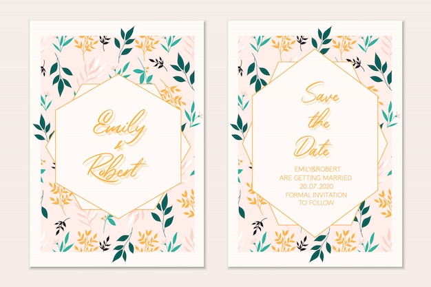 Conjunto de cartão floral cartão botânico. convite de casamento