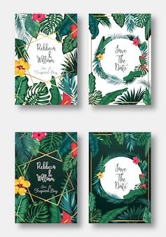 Conjunto de cartão floral convite de casamento, salvar a data e o quadro