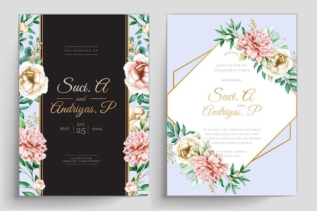 Conjunto de cartão floral de verão aquarela desenhado à mão