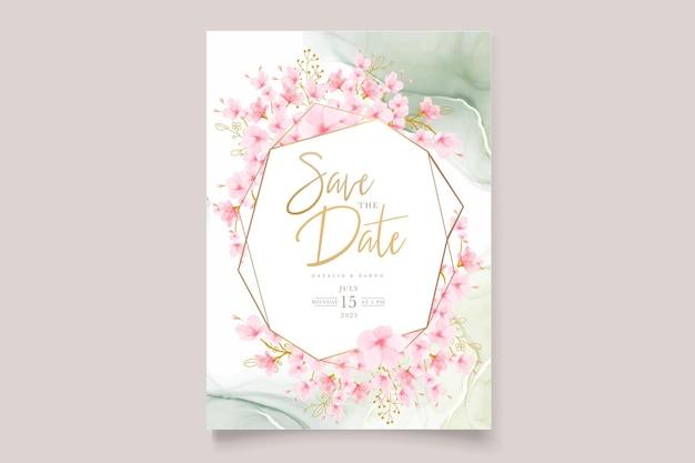Conjunto de cartão floral em aquarela de flor de cerejeira Vetor Premium
