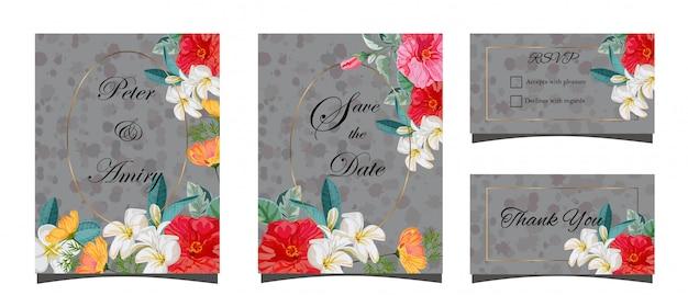 Conjunto de cartão floral para ilustração de casamento