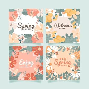 Conjunto de cartão floral plano