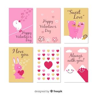 Conjunto de cartão fofo dia dos namorados