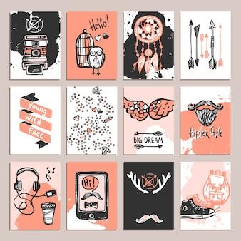 Conjunto de cartão hipster