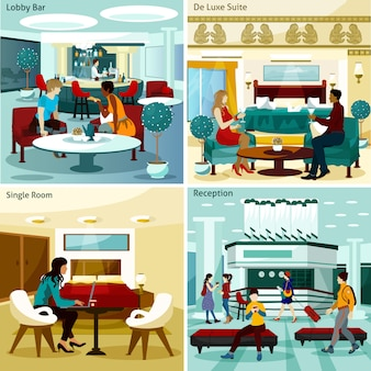 Conjunto de cartão interior do hotel