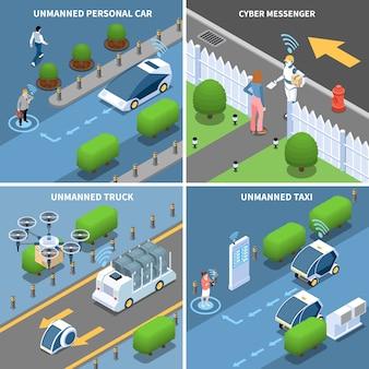 Conjunto de cartão isométrico de veículos e robôs autônomos