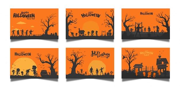 Conjunto de cartão laranja de halloween