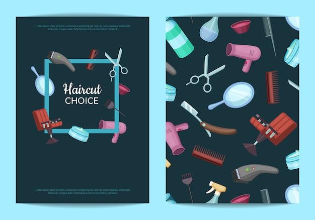 Conjunto de cartão ou folheto para com elementos de cabeleireiro ou barbeiro dos desenhos animados