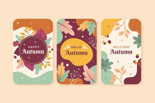 Conjunto de cartão outono design plano