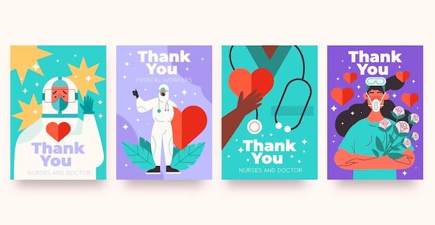 Conjunto de cartão postal de agradecimento plano orgânico, médicos e enfermeiras
