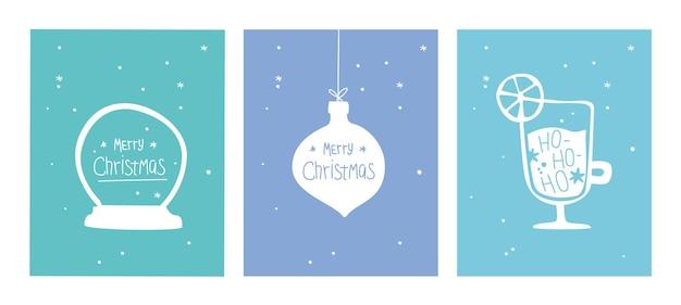 Conjunto de cartão postal de feliz natal cartaz de natal com globo de neve enfeites e cartão de vinho quente em estilo doodle