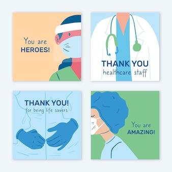 Conjunto de cartão postal desenhado à mão, médicos e enfermeiras
