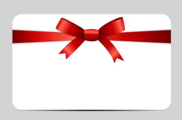 Conjunto de cartão presente com fita vermelha e arco.