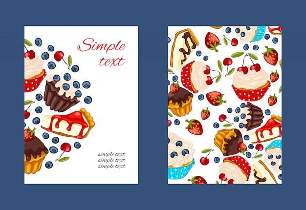 Conjunto de cartão promocional cupcake