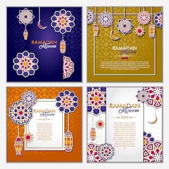 Conjunto de cartão ramadan kareem