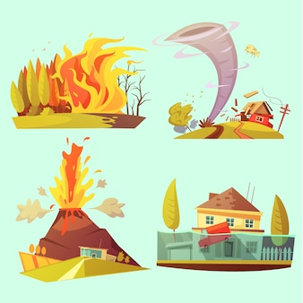 Conjunto de cartão retrô dos desenhos animados desastre natural