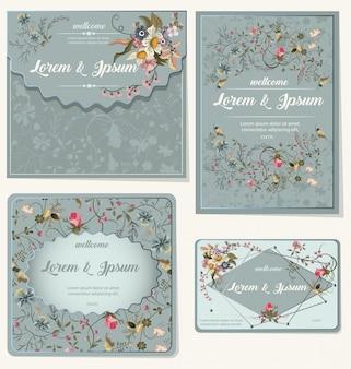 Conjunto de cartão romântico