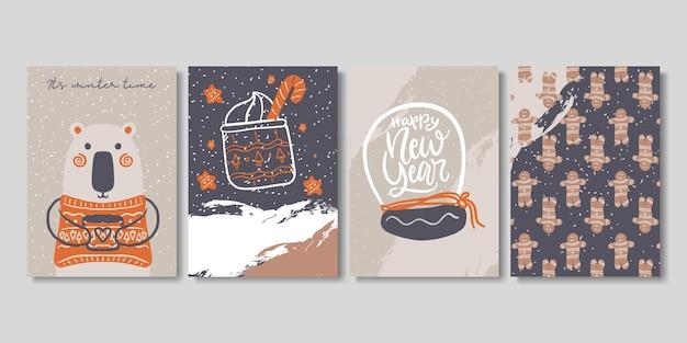 Conjunto de cartas artísticas de inverno criativo.