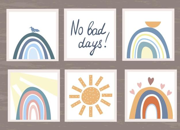 Conjunto de cartas com arco-íris e sol no estilo boho