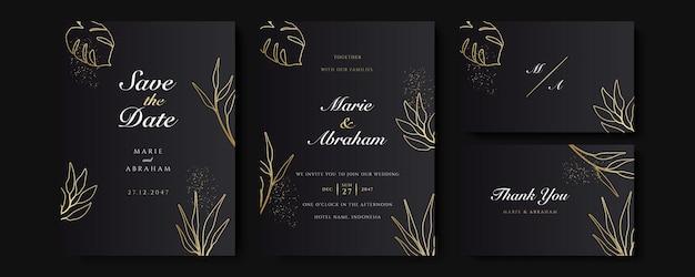 Conjunto de cartas com decoração floral de arte de linha. design de modelo de convite de casamento de folhas tropicais de ouro de luxo e fundo preto. ilustração botânica para salvar a data, evento, capa, vetor