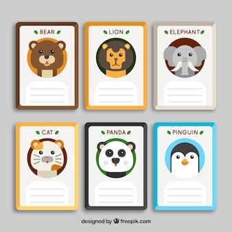 Conjunto de cartas com fofos rostos de animais