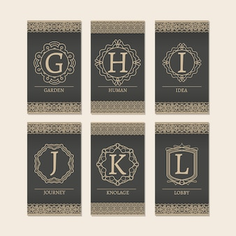 Conjunto de cartas com letras monograma gl