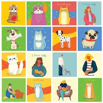 Conjunto de cartas com pessoas com cães e gatos