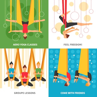 Conjunto de cartas de aero yoga
