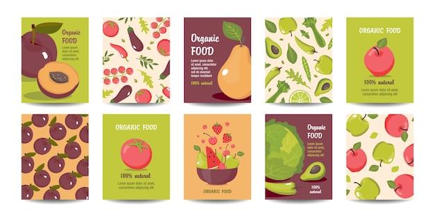 Conjunto de cartas de alimentos orgânicos