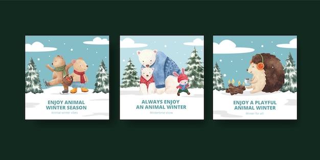 Conjunto de cartas de animais de inverno