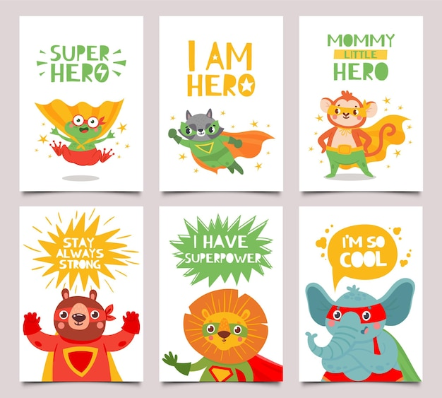 Conjunto de cartas de animais heróis