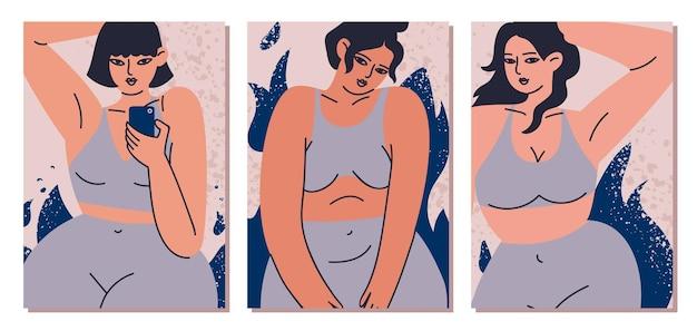 Conjunto de cartas de beleza feminina e corpo positivo em estilo cartoon