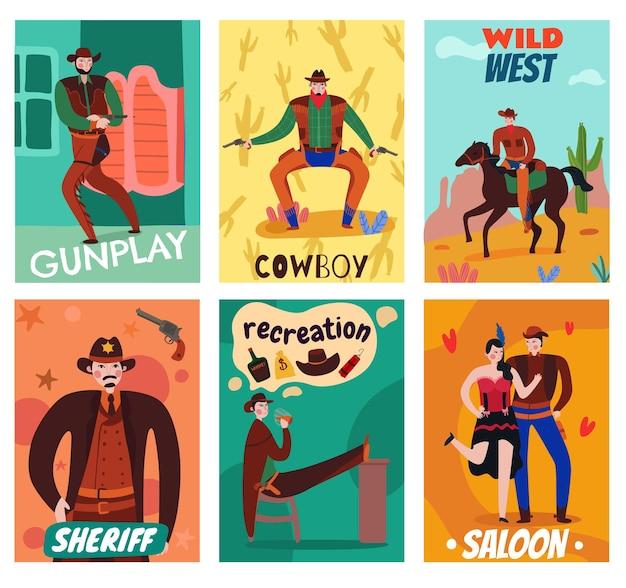 Conjunto de cartas de cowboy do oeste selvagem