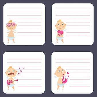 Conjunto de cartas de cupidos bonito dos desenhos animados. adequado para o design do dia dos namorados