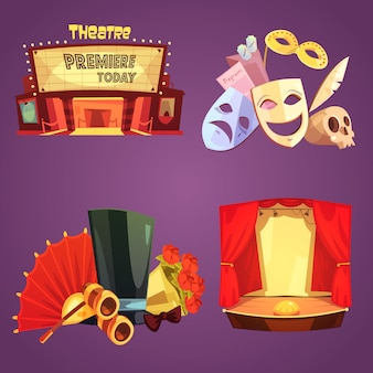 Conjunto de cartas de decoração de palco de teatro