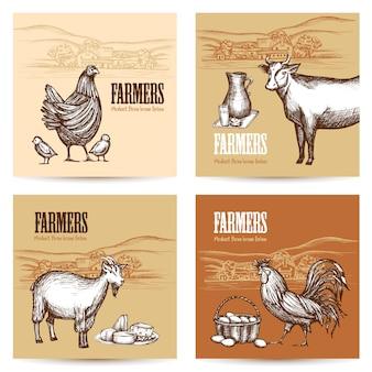 Conjunto de cartas de fazenda
