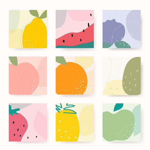 Conjunto de cartas de frutas desenhadas à mão