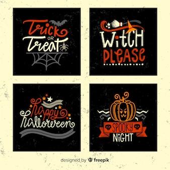 Conjunto de cartas de halloween mão desenhada