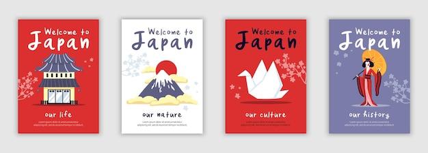 Conjunto de cartas de ilustração do japão