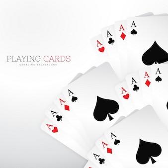 Conjunto de cartas de jogar casino no fundo branco