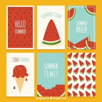 Conjunto de cartas de melancia verão