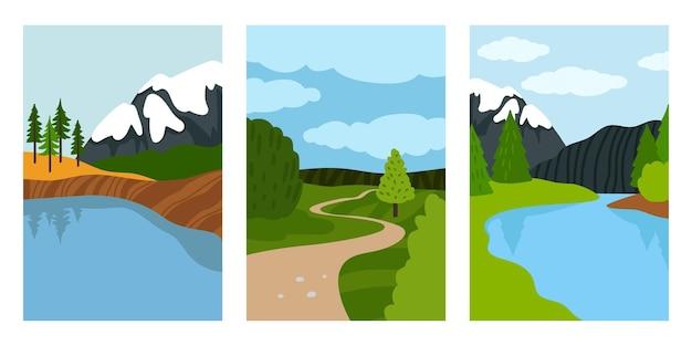 Conjunto de cartas de paisagens