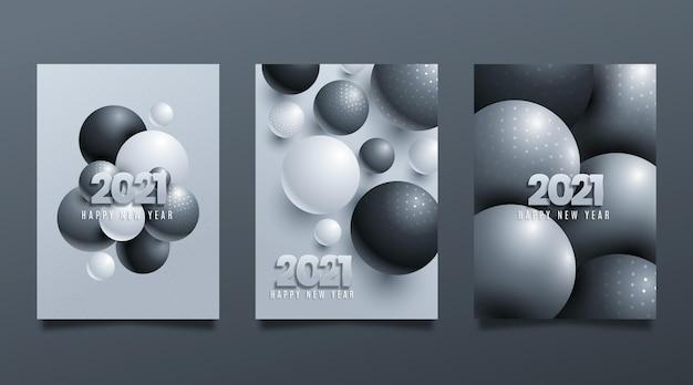 Conjunto de cartas de prata do ano novo 2021