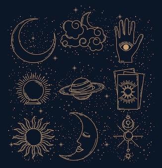 Conjunto de cartas de tarô e astrologia