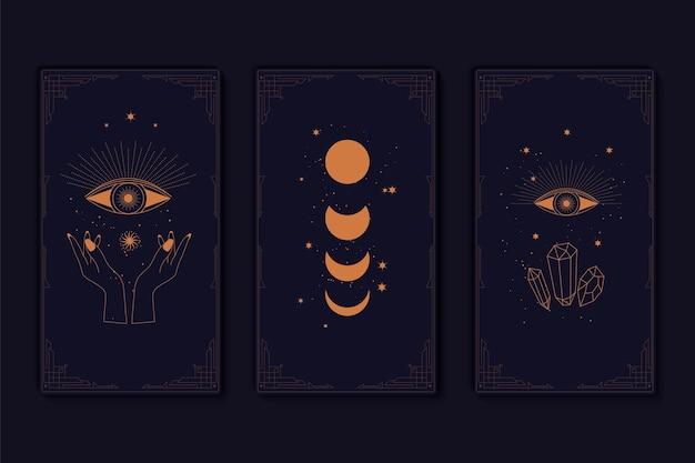 Conjunto de cartas de tarô místicas, elementos alquímicos ocultos esotéricos e símbolos de bruxas, signos do zodíaco