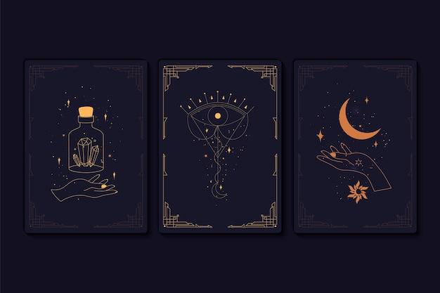 Conjunto de cartas de tarô místicas. elementos de símbolos esotéricos, ocultos, alquímicos e bruxas. signos do zodíaco. cartões com símbolos esotéricos. silhueta de mãos, estrelas, lua e cristais. ilustração vetorial