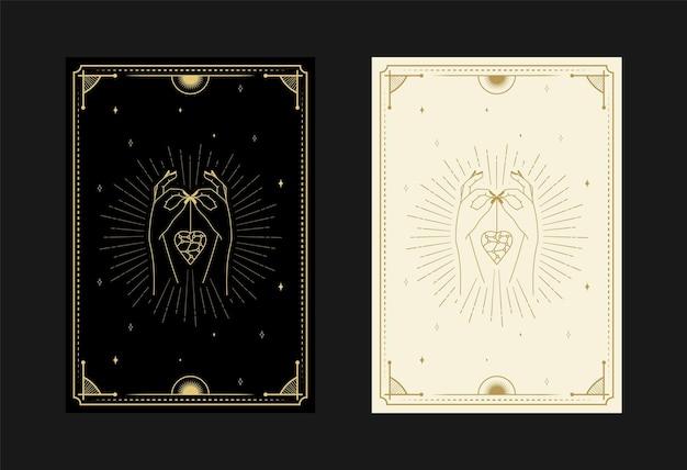 Conjunto de cartas de tarô místicas símbolos alquímicos doodle gravura de estrelas, caveira, cobras e cristais