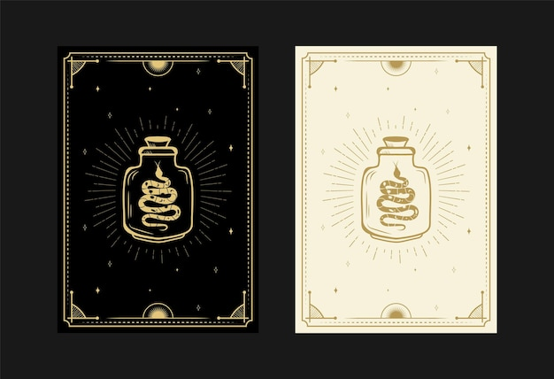 Conjunto de cartas de tarô místicas símbolos alquímicos doodle gravura de estrelas cristais de cobras de maconha mágica