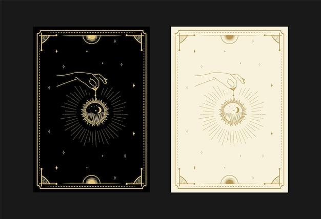 Conjunto de cartas de tarô místicas, símbolos alquímicos doodle, gravura de estrelas, lua, planeta e cristais